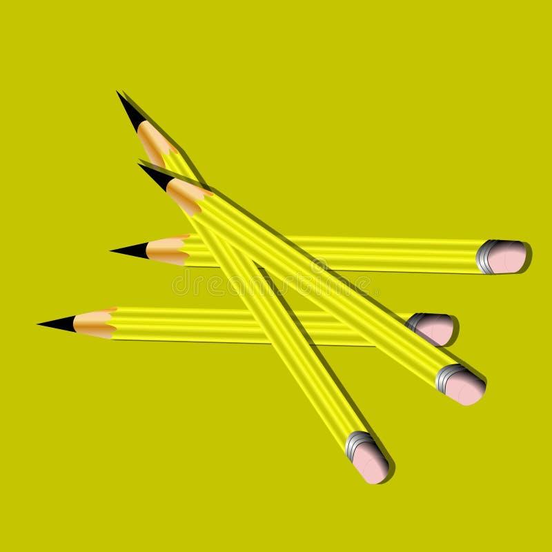 Download Yellow pencils stock illustration. Image of eraser, pencil - 384033