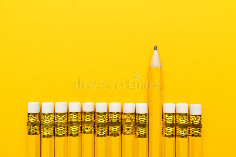 Yellow pencil leadership concept royalty free stock photography