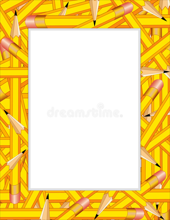Yellow Pencils Frame royalty free illustration