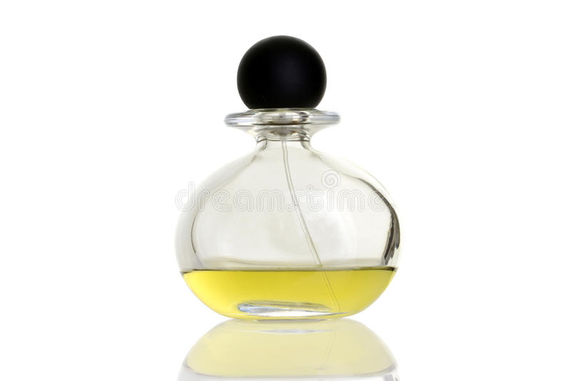 Yellow perfume in bottle royalty free stock photography