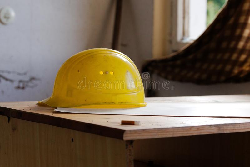 Yellow, Personal Protective Equipment, Hard Hat, Product Design stock photo