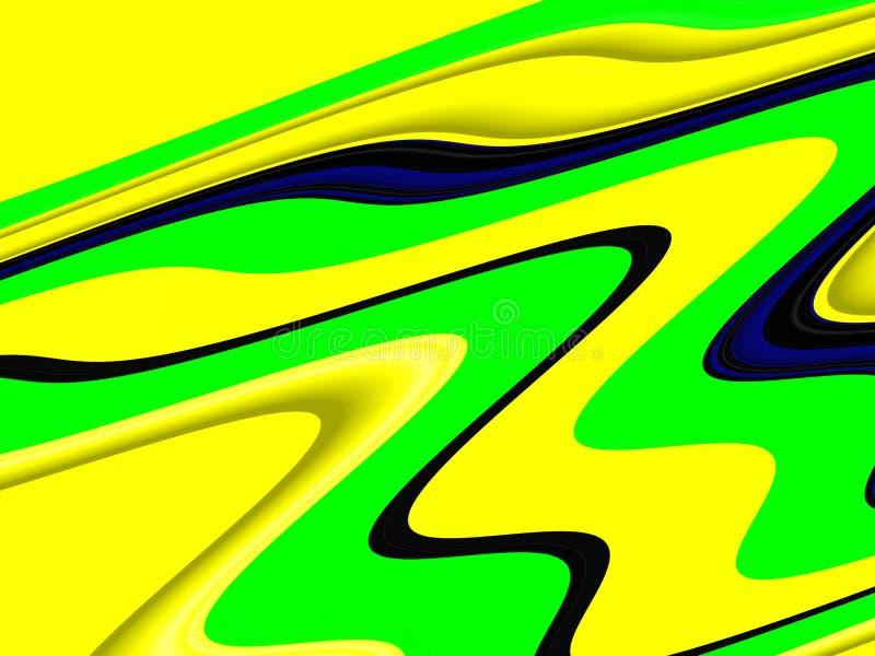 Yellow phosphorescent waves fluid shapes, geometries background on black background. Yellow phosphorescent green waves blurred fluid background, sparkling royalty free illustration