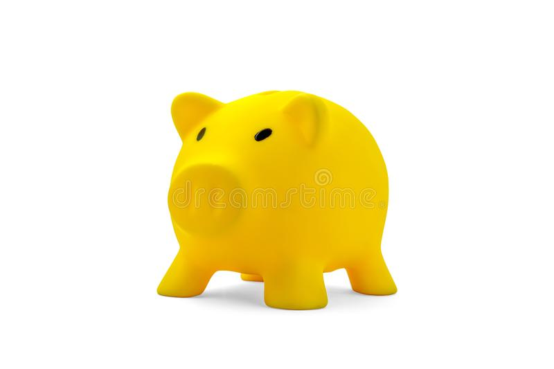 Yellow piggy bank royalty free stock image