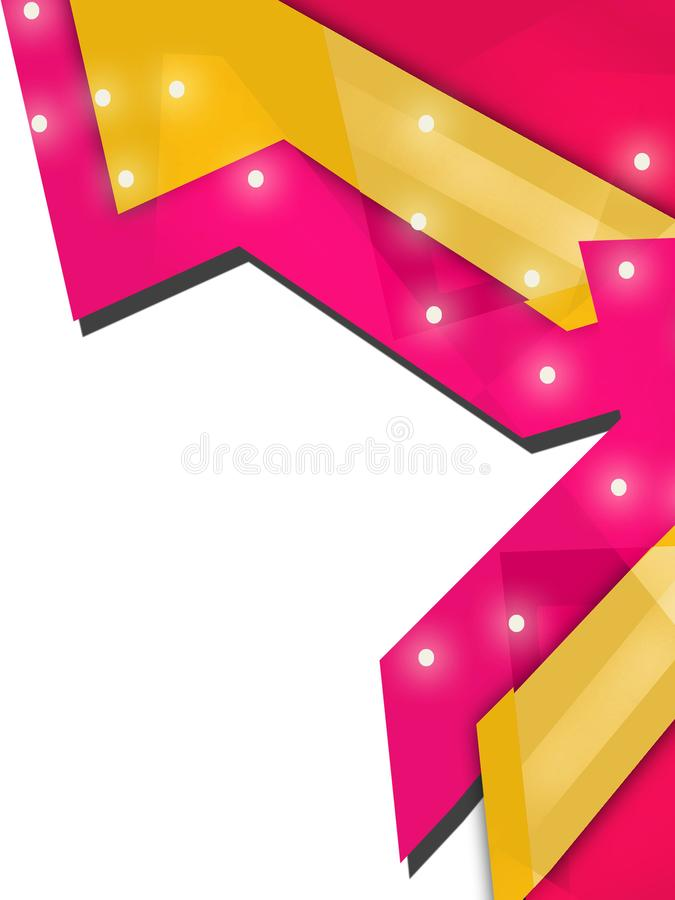 Yellow and pink arrow overlap right side abstract background. Vertical creative background stock illustration