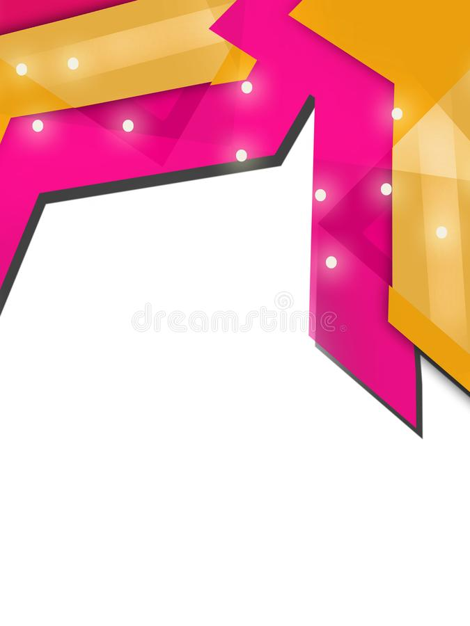 Yellow and pink arrow overlap top side abstract background. Vertical creative background royalty free illustration