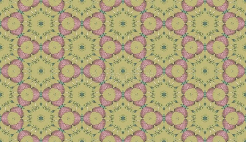 Yellow and pink background pattern from the greenery and flowers hexagon figures. Geometric seamless design template with simple vector illustration
