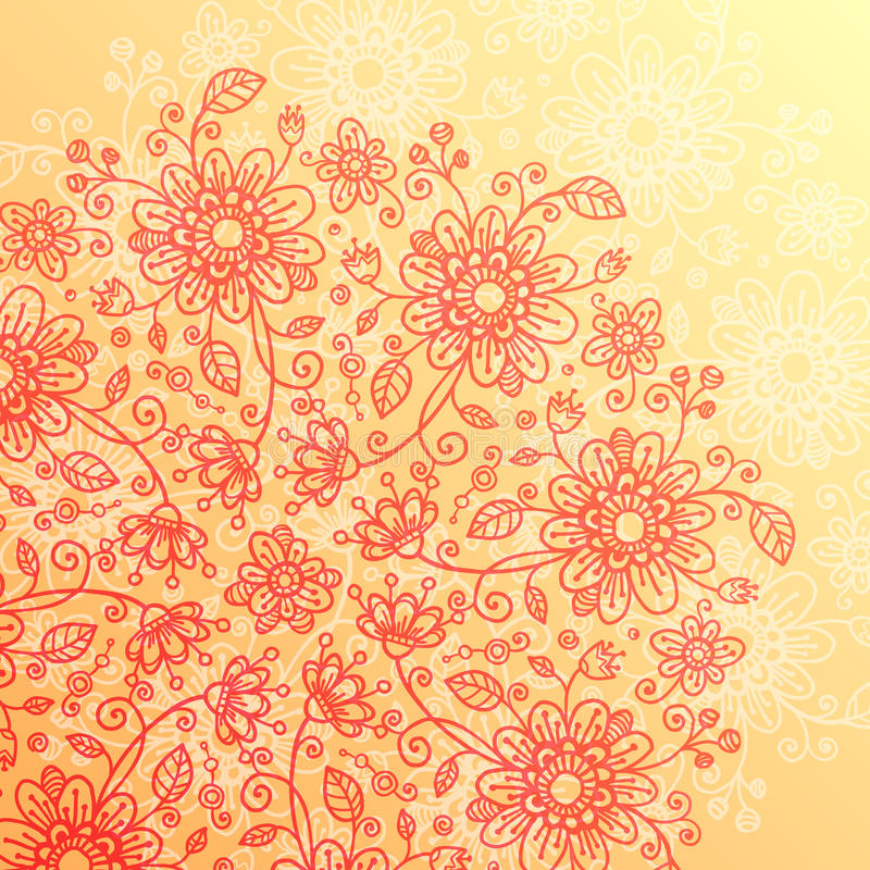 Yellow And Pink Doodle Flowers Vintage Background Royalty Free Stock Images