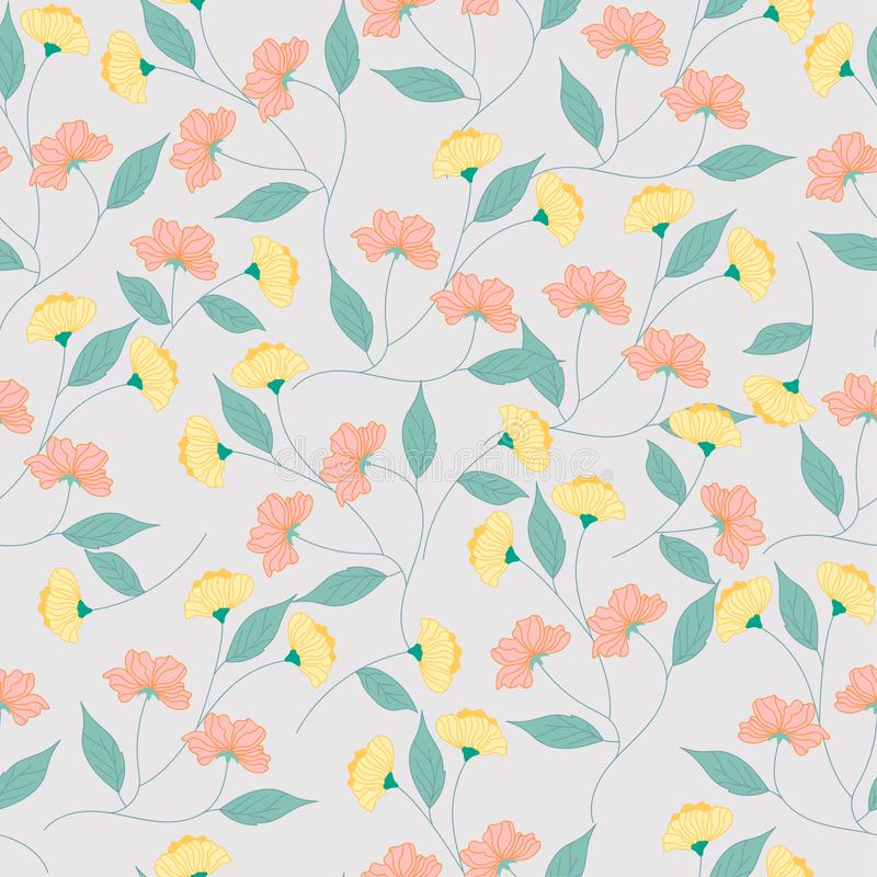 Yellow and pink flower seamless pattern stock illustration
