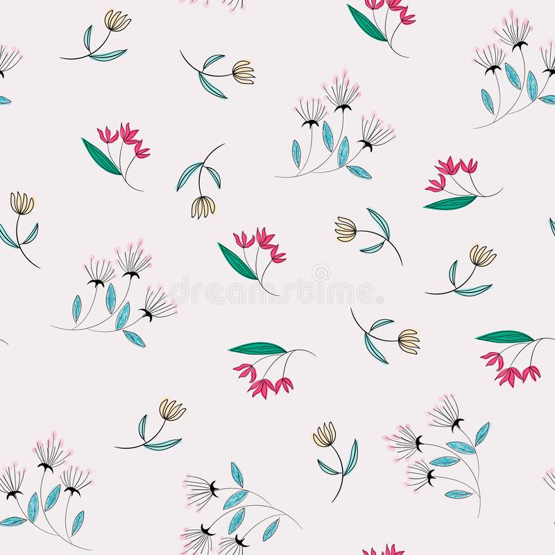 Yellow and pink flower seamless pattern royalty free illustration