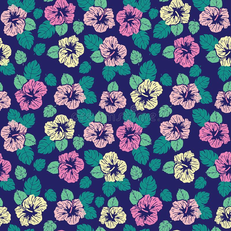 Yellow pink hibiscus flowers and tropical leaves seamless pattern on dark blue background. Tropical leaves and hibiscus flowers on seamless background stock illustration