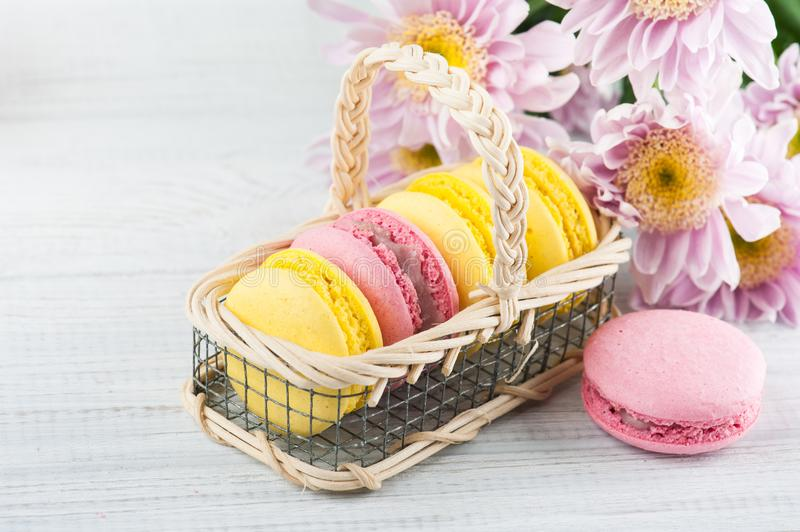 Yellow and pink macaroons stock image