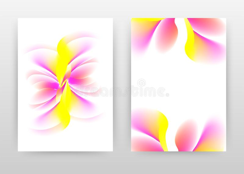 Yellow pink pure clear flower concept design of annual report, brochure, flyer, poster. Flower petal on white background vector. Illustration for flyer, leaflet royalty free illustration