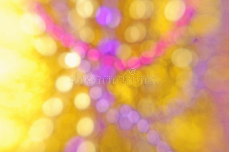 Yellow pink purple abstract background. Yellow Gold Pink Purple and White Light Blur Macro Abstract Background with Circles of Light. Christmas lights abstract