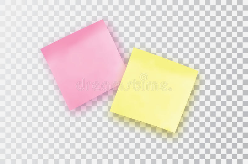 Yellow and pink sticky note. Template for your projects. stock illustration