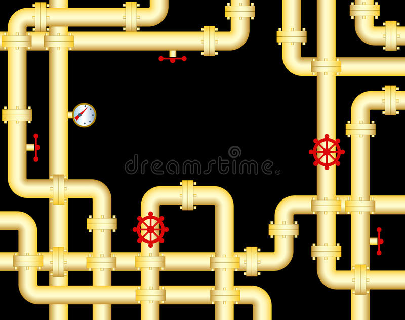 Yellow piping. The large steel piping and black background stock illustration