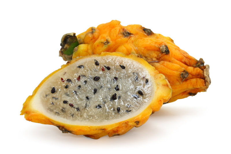 Yellow pitahaya. Isolated on a white background royalty free stock photography