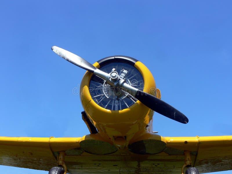 Yellow plane. World war 2 yellow fighter plane stock photo