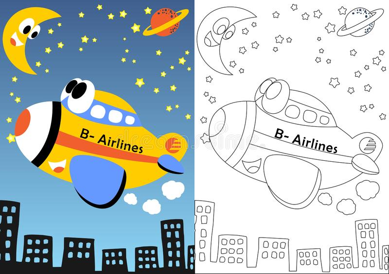 yellow plane cartoon sky night happy plane flying sky night funny cresscent moon coloring book page