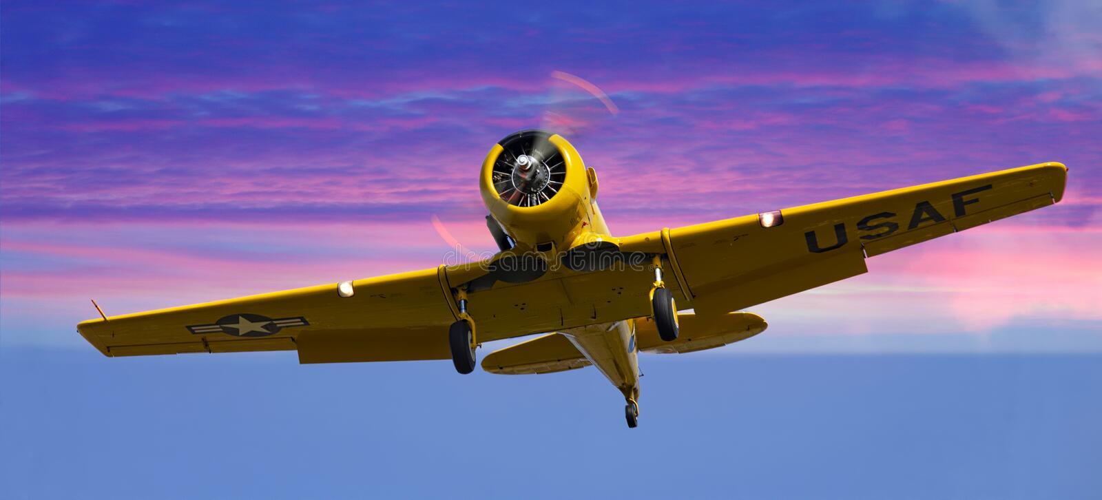 Yellow plane royalty free stock images