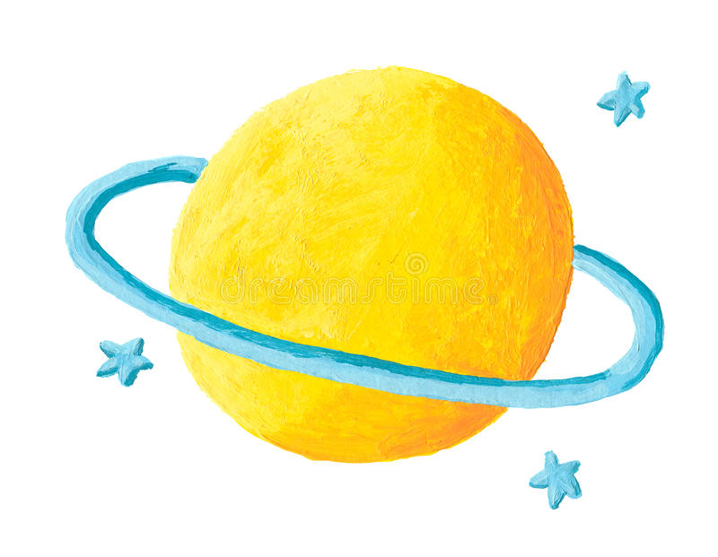 Yellow planet with blue ring