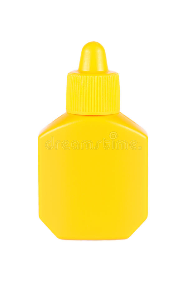 Yellow plastic bottle with lid on white. It is Yellow plastic bottle with lid isolated on white stock images