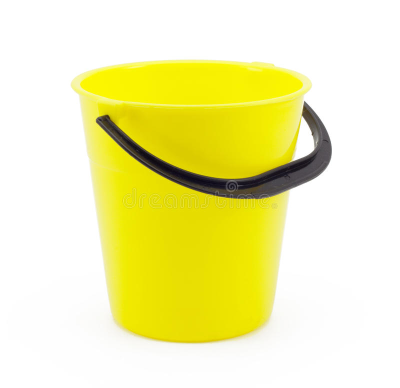 Yellow plastic bucket. On a white background royalty free stock photo