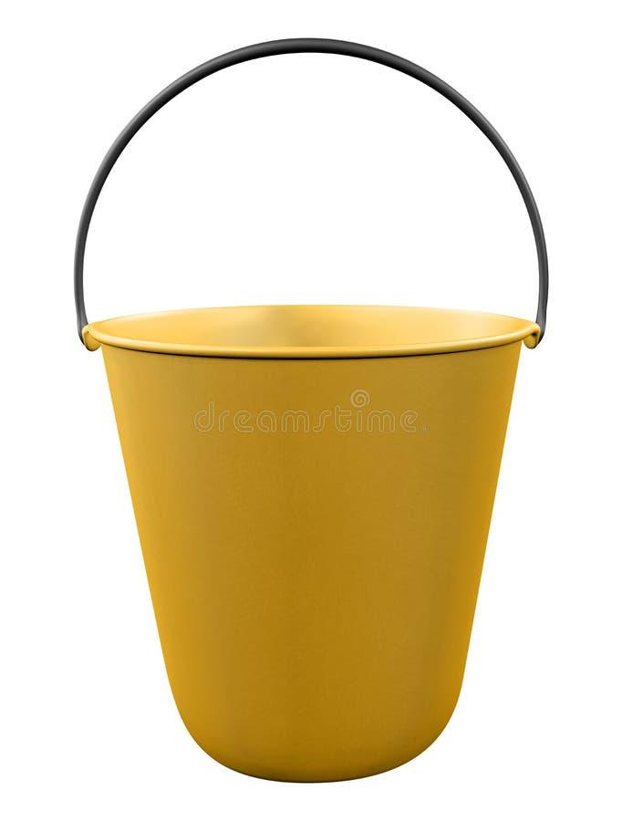 Plastic bucket isolated - yellow stock images