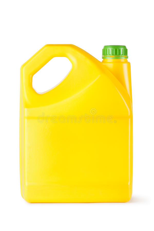 Yellow plastic canister for household chemicals royalty free stock images