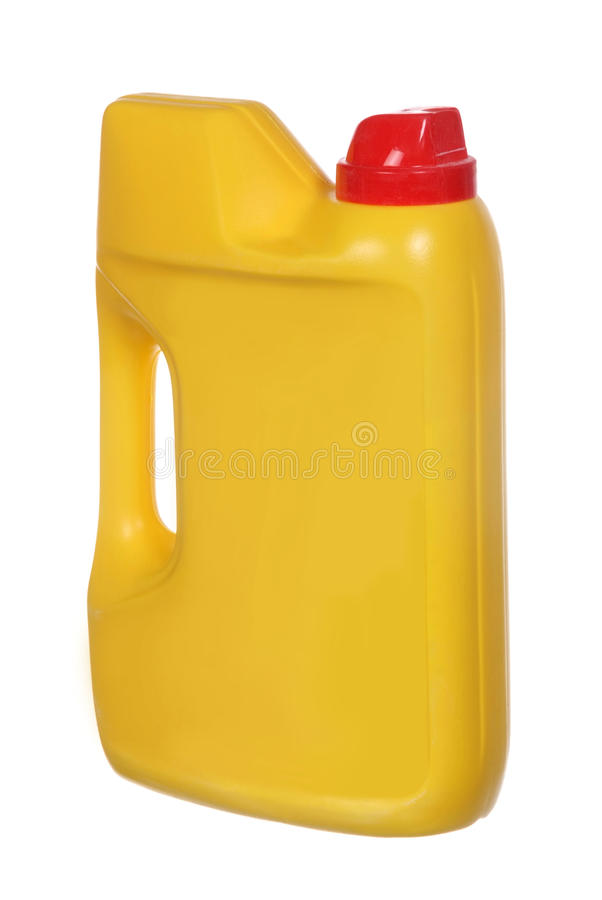 Yellow plastic canister for household chemicals royalty free stock photos
