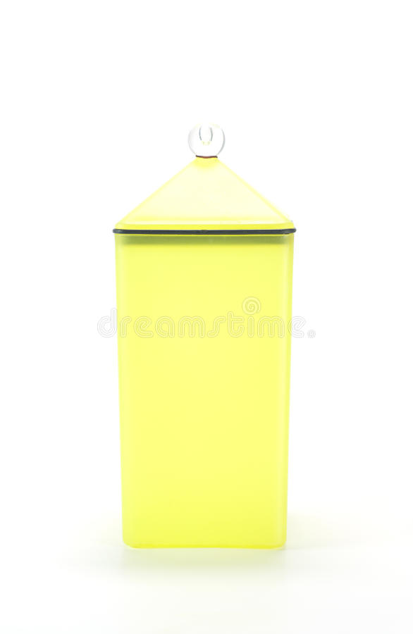 Yellow plastic container box. Yellow plastic container box isolated stock photos