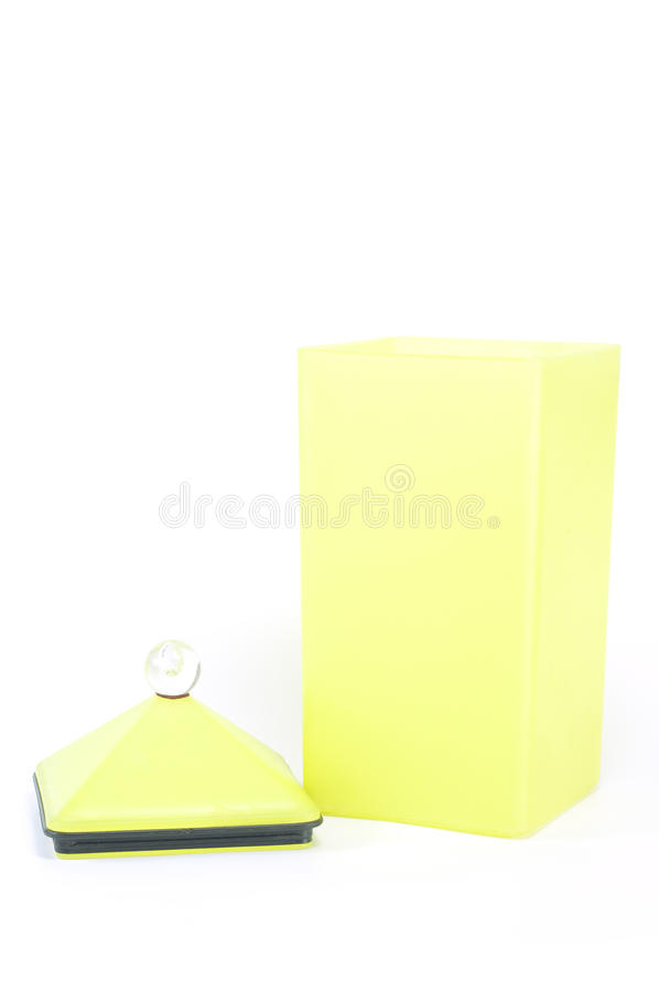 Yellow plastic container box. Yellow plastic container box isolated royalty free stock photo