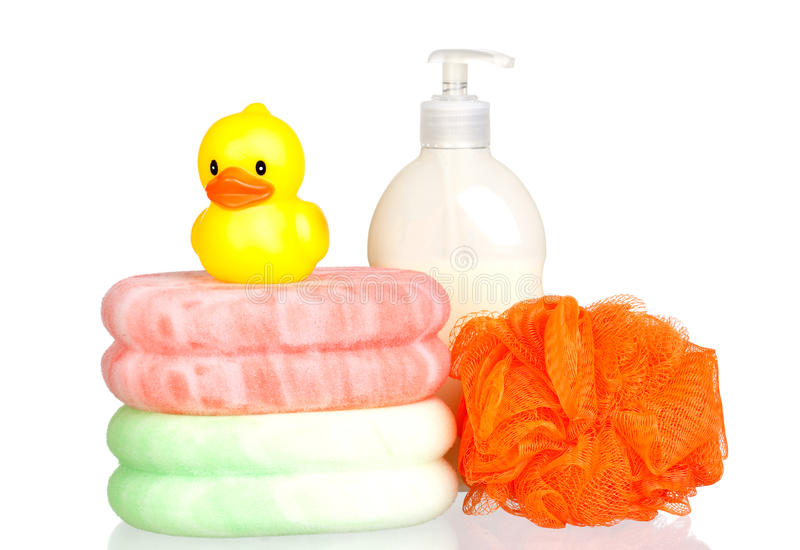 Download Yellow Plastic Duck Over Sponges And Boat Bath Dis Stock Photo - Image of detergent, bottle: 12815718