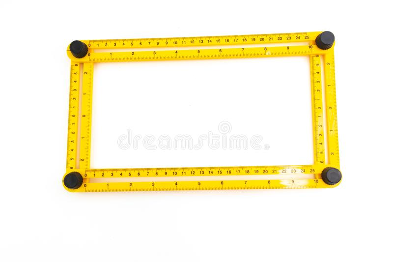 Yellow plastic measurement degree ruler isolated. On white background stock image