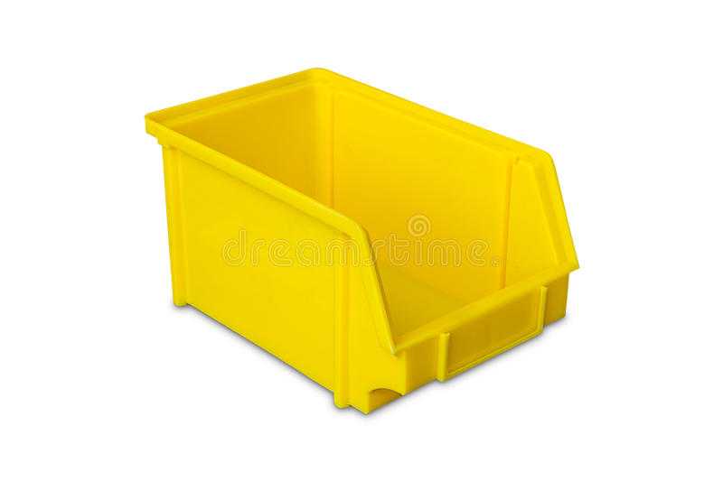 Yellow plastic parts bin. Isolated on white background with clipping path royalty free stock photography