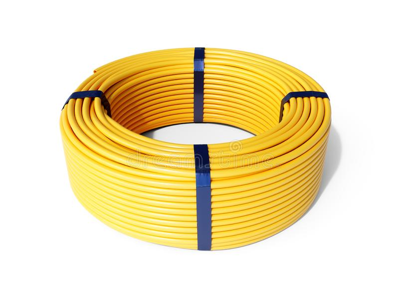 Yellow plastic rolled hose pipe stock photo