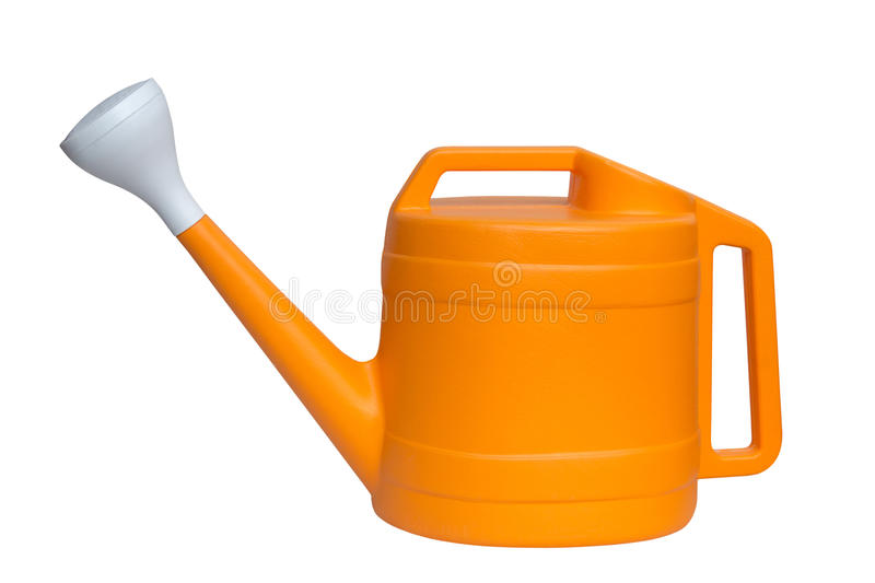 Yellow plastic watering can isolated over white background royalty free stock images