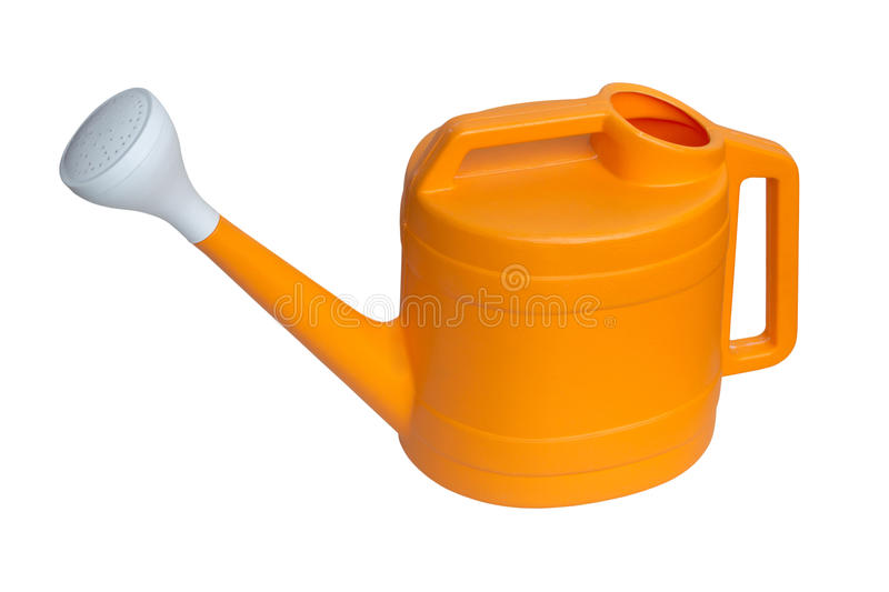 Yellow plastic watering can isolated over white background stock photography