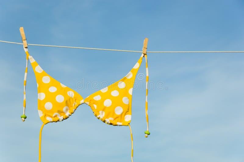 Yellow Polka Dot Bikini Stock Image
