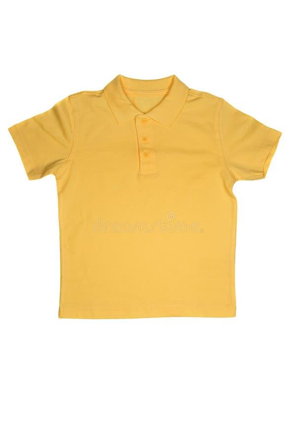 Yellow polo shirt isolated on white. Background royalty free stock photos
