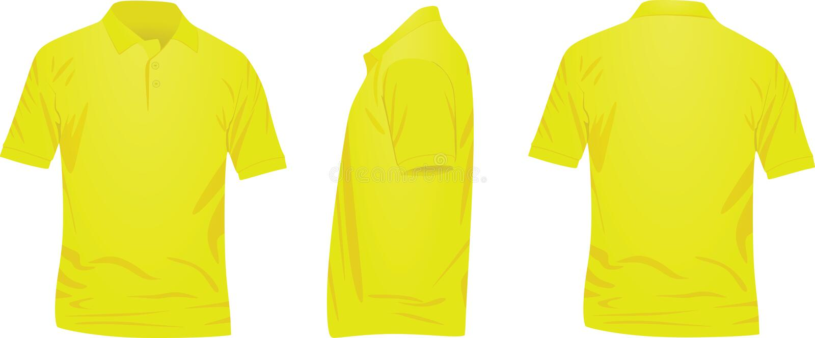 Yellow polo t shirt. front, back and side view stock illustration