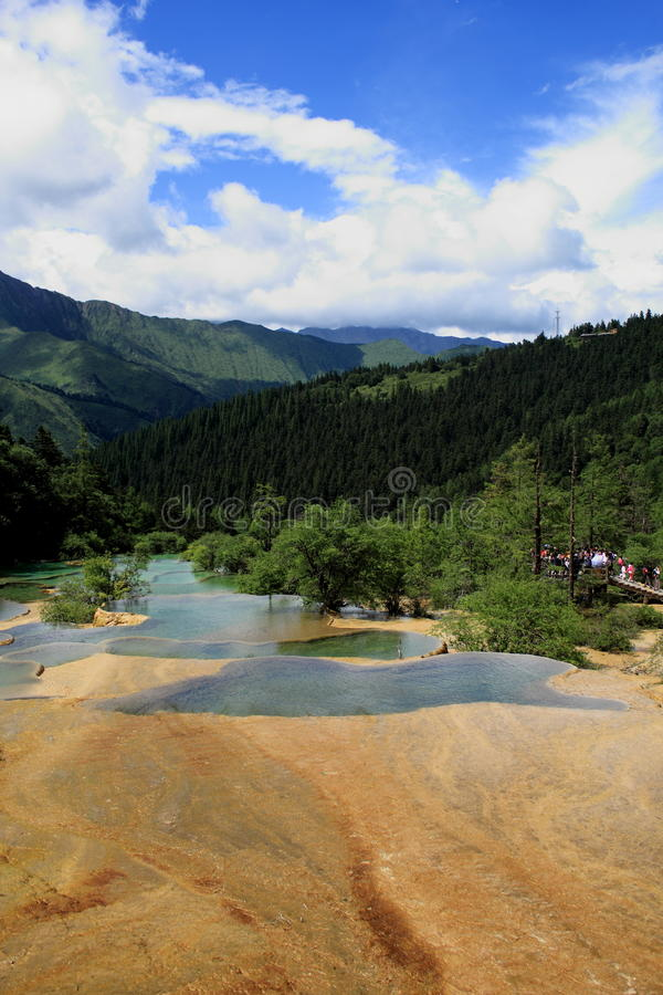 The yellow pool in the Huanglong park stock images