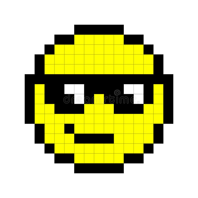 Smiley Pixel Art Style On White Background. Vector Stock