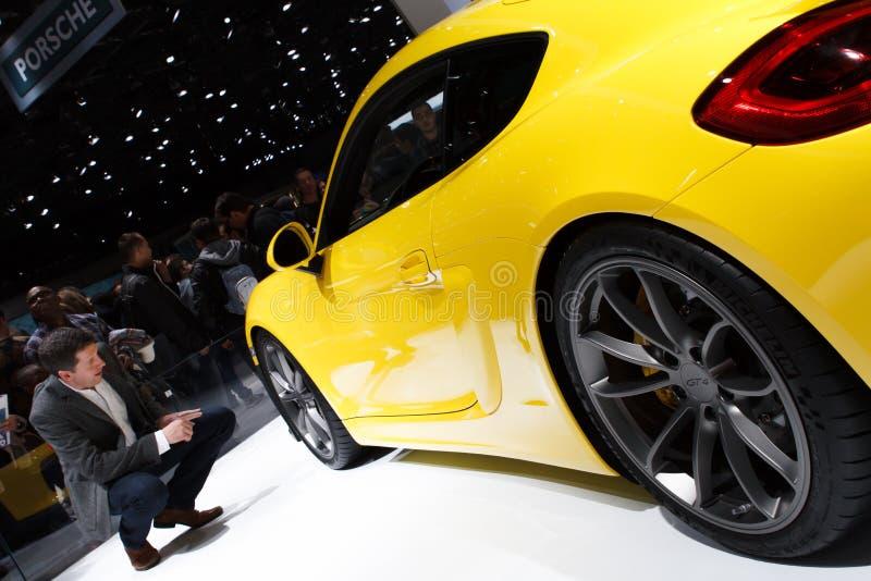 Yellow Porsche Cayman GT4 Geneva Motor Show 2015. Yellow Porsche Cayman GT4 at the Geneva Motor Show 2015 stock image