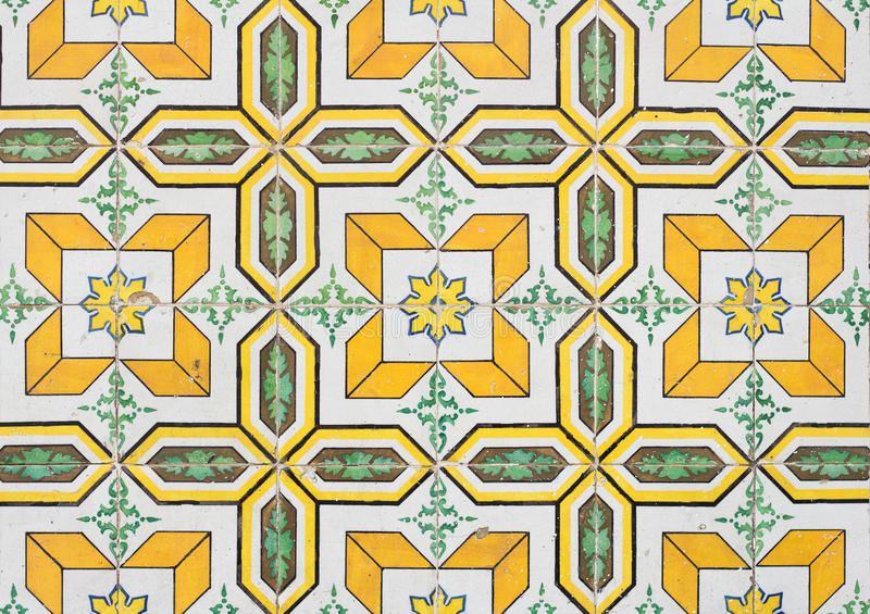 Yellow portugal tiles closeup stock photo