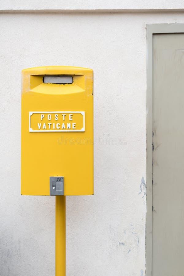 Yellow Post Box in Vatican stock image