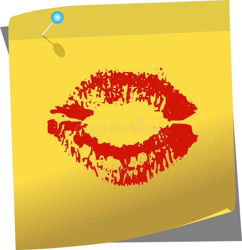 Download Yellow Post-it With Female Lips Stock Vector - Illustration: 37507222
