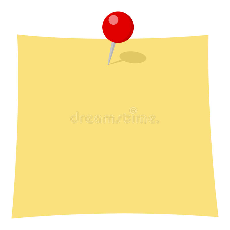 Yellow Post It Flat Icon Isolated on White. Yellow empty post it note flat icon with red pin, isolated on white background. Eps file available vector illustration