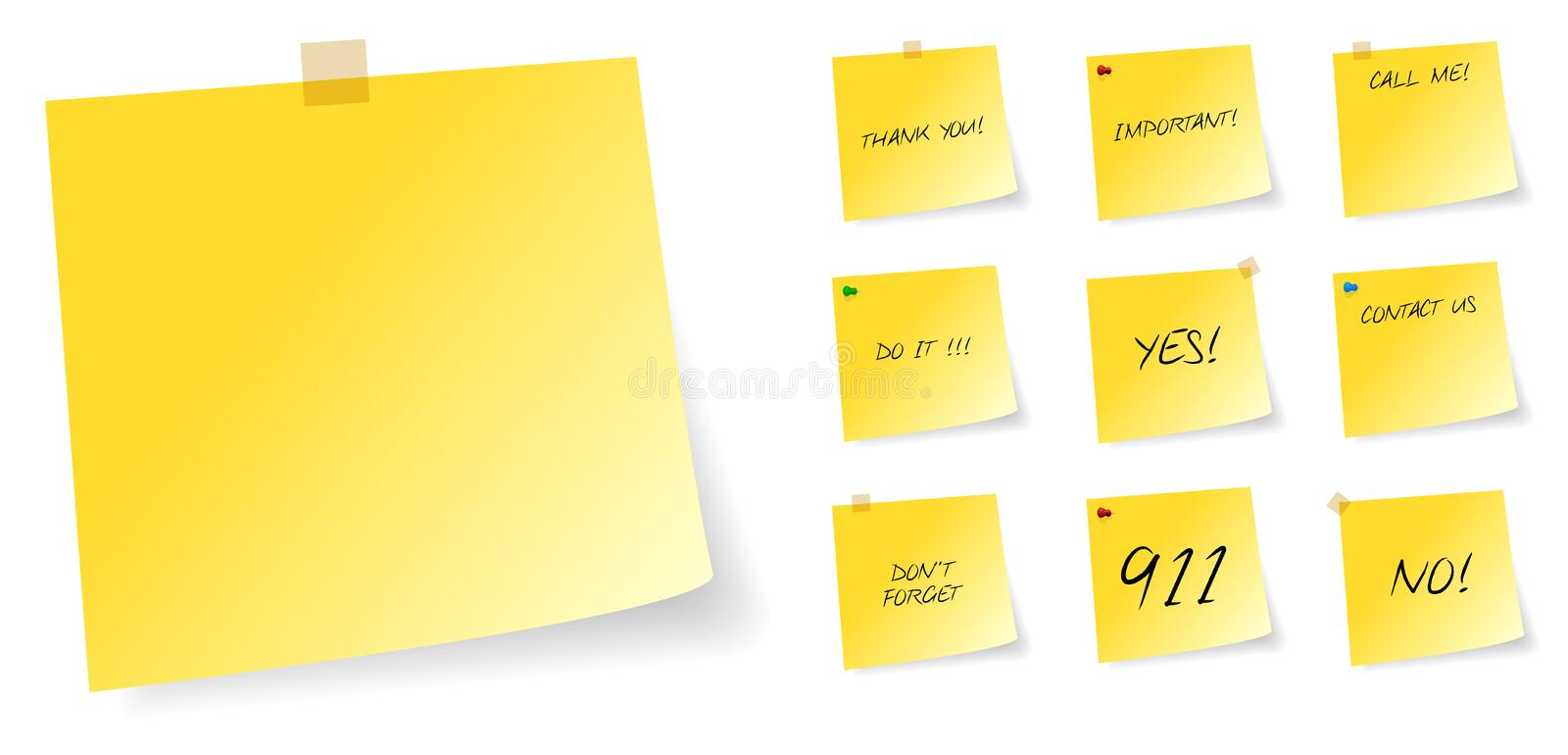 Download Yellow Post It Sticky Notes With Messages Stock Vector - Image: 33837624