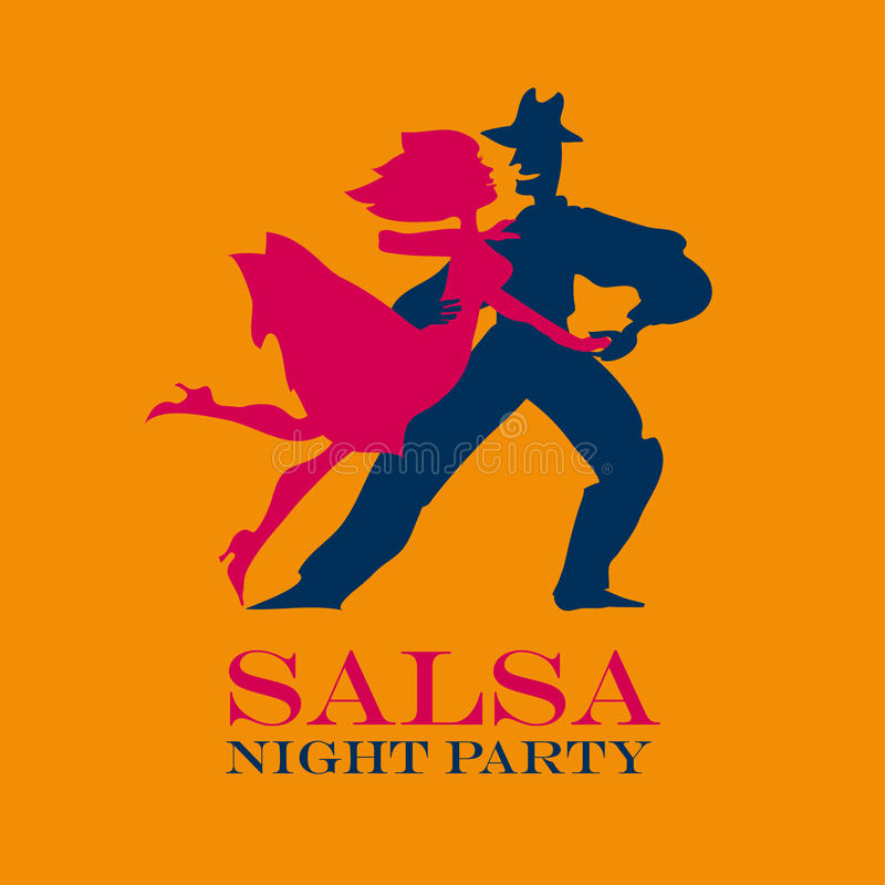Yellow poster for salsa party. royalty free illustration
