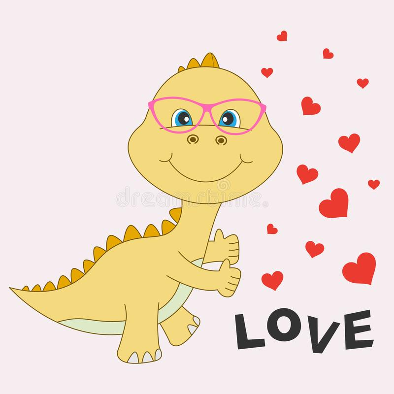 Yellow pretty and happy dinosaur baby in glasses isolated on a white background stock illustration